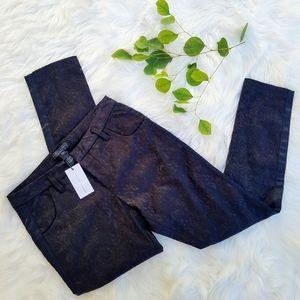 New Sanctuary Dressy Black Jacquard Ankle Pants 27